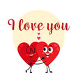 i love you - greeting card design with two hugging vector image