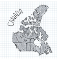Grey and black pen hand drawn Canada map on vector image