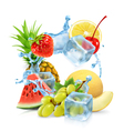 Multifruit with ice cubes and water splash vector image