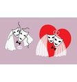 Wedding mask the bride and groom with a heart vector image