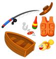 set icons fishing equipment vector image