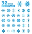 Snowflakes A set of 32 icons vector image