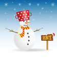 snowman with red hat and wooden sign vector image