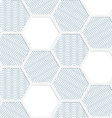 White 3D with colors hexagonal grid with blue vector image