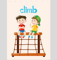 word card with two boys climbing vector image