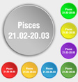 Pisces zodiac sign icon sign Symbol on eight flat vector image