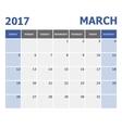 2017 March calendar week starts on Sunday vector image vector image