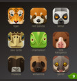 animal faces for app icons-set 9 vector image vector image
