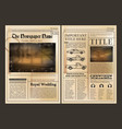 layout design front page of vintage newspaper vector image