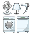 Household electronic devices on white vector image