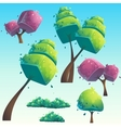 Set of isolated cartoon abstract trees vector image