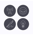 Pen telecommunication and lightbulb icons vector image