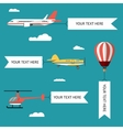Aeroplane planes helicopters biplane and hot vector image