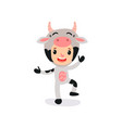 cute kid character dressed as cow with horns vector image