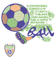 Soccer ball print for kids and badge set vector image