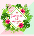 tropical flowers and flamingo vector image
