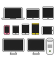 Different media devices collection Flat design vector image