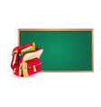 Green board and school bag vector image