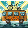 vintage pop art of travel bus vector image