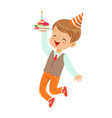 adorable little boy in elegant clothes and red vector image