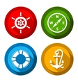 Set of travel flat color buttons vector image