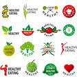 biggest collection of logos healthy eating vector image