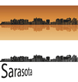 Sarasota skyline in orange vector image vector image