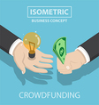 Isometric businessman hands buy and sell new idea vector image