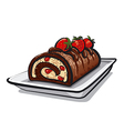 chocolate roll cake with strawberry vector image