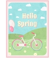 Hello spring Bicycle with balloons vector image