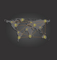 yellow bitcoin signs on the map of the world vector image