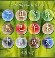 set of chinese feng shui hieroglyphs vector image