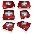 Set of First aid kit box vector image vector image