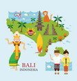 Bali indonesia map with travel and attraction vector image