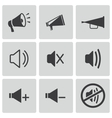 black speaker icons set vector image