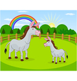 Cartoon donkey and rural meadow with green grass vector image