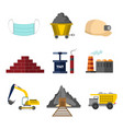 flat style mining related graphic set vector image