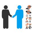 friend meeting icon with dating bonus vector image