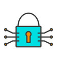 tech circuit lock line icon minimal pictogram vector image