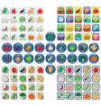 Vegetable icons in various styles vector image