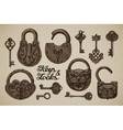Vintage Keys and Locks Hand-drawn collection of vector image