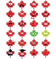 maple leaf shaped smiley faces vector image