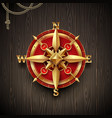 golden ancient compass rose vector image vector image