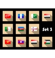Set of flat flag icons of Eastern countries vector image vector image