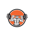 Knight Armor Lifting Barbell Weights Circle Retro vector image