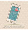 valentine card with smartphone and red heart vector image