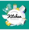 Cartoon kitchen utensil collection spoon pot food vector image