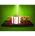 Green 2017 background with gift box vector image