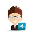 happy businessman network media icon vector image