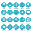 light bulbs colored flat line icons led lamps vector image